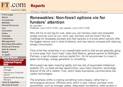Financial Times, Renewables: Non-fossil options vie for funders' attention