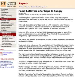 Financial Times, Food: Leftovers offer hope to hungry, January 25 2010