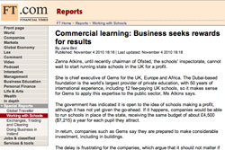 Financial Times, Working with Schools. Commercial learning: Business seeks rewards for results