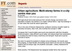 Financial Times, Sustainable Business. Urban agriculture: Multi-storey farms in a city centre near you