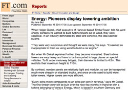 Financial Times, Green Innovation and Design: Energy: Pioneers display towering ambition
