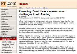 Financial Times, Financing: Good ideas can overcome challenges to win funding