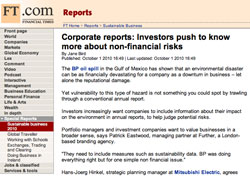 Financial Times, Corporate reports: Investors push to know more about non-financial risks